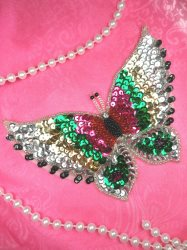 """LC1784 Self Adhesive Multicolor w\Green Butterfly Beaded Sequin Applique 5"""""""