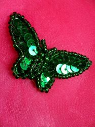 LC1789 Self Adhesive Green Butterfly Beaded Sequin Applique 1.75""