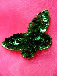 LC1790 Self Adhesive Green Butterfly Beaded Sequin Applique 2.5""