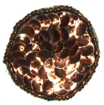 LC267  Bronze Dot Round Circle Sequin Beaded Applique  1.5""