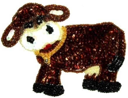 LC281  Western Rodeo Cow Sequin Beaded Applique  5""