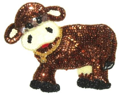 LC282  Western Rodeo Cow Sequin Beaded Applique  6.5""