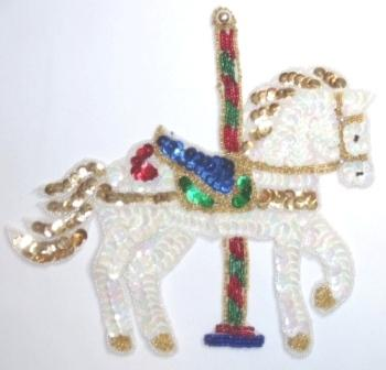 LC287  White Carousel Horse Sequin Beaded Applique 7.5""