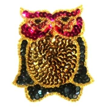 LC169  Large Owl Sequin Beaded Applique 7.75""