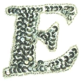 "LC530  Silver Letter ( E ) Sequin Beaded Applique 2.25"""