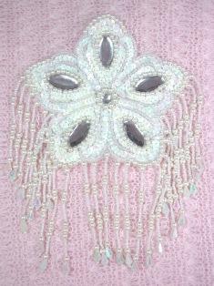 """MA179 White AB Flower Jewel Sequin Beaded Dangle Epaulet Applique 8"""""""