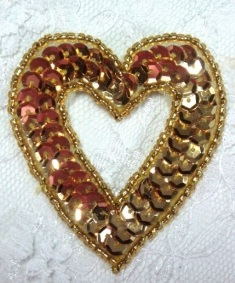 MA184 Gold Heart Sequin Beaded Hair Bow / Brooch / Applique  2""