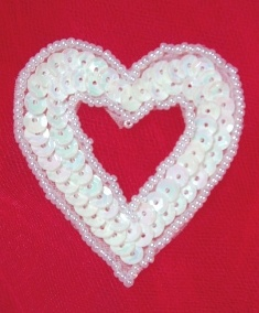 MA184 White AB Pearl Heart Sequin Beaded Hair Bow / Brooch / Applique  2""