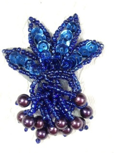 MA359 Blue Beaded Sequin Applique 2""