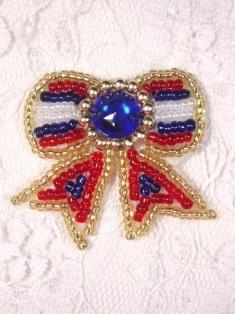 "MA81B Patriotic Beaded Hair Bow / Brooch / Applique 1.5"""