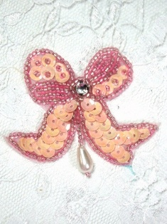 MA6 REDUCED Light Pink AB Sequin Beaded Hair Bow / Brooch / Applique 2""