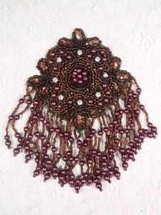 "MA65 Bronze & Wine Rhinestone Beaded Sequin Dangle Epaulet Hair Bow / Brooch / Applique 6"""