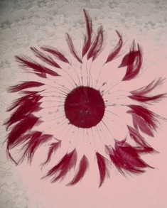 MR004  Burgundy Circle Feather Applique 8""