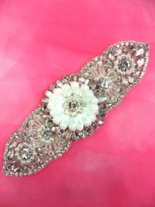 "MS101 Bridal Sash Motif Silver Beaded Crystal Rhinestone Applique w/ Pearls 6"""