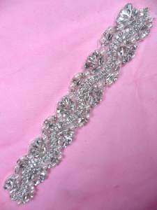 "MS104 Bridal Sash Motif Silver Beaded Crystal Rhinestone Applique w/ Pearls 8.75"""