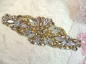 "Gold Setting Crystal Rhinestone Applique w/ Pearls and White Jelly Accent Stones 5.25"" (MS124)"
