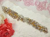"""Applique w/ Gold Setting and Beads with Multiple Crystal Rhinestones 8.5"""" (MS126)"""