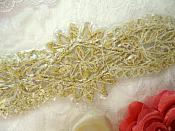 "Applique w/ Gold Setting and Beads Multiple Crystal Rhinestones w/ Pearls 8"" (MS128)"
