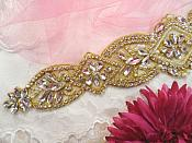 "Bridal Sash Applique w/ Gold Setting and Beads Multiple Crystal Rhinestones w/ Pearls 18"" (MS136)"