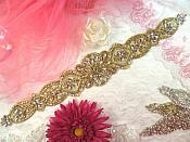 Bridal Sash Applique w/ Gold Setting and Beads Multiple Crystal Rhinestones w/ Pearls 18