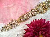 """Bridal Sash Applique w/ Gold Setting and Beads Multiple Crystal Rhinestones w/ Pearls 16.5"""" (MS139)"""