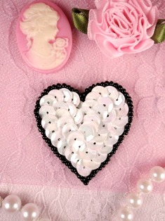 MS45  White AB Black Heart Beaded Sequin Applique 1.5""