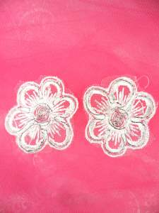 MS67 White Silver Metallic Flower Mirror Pair Embroidered Applique Floral 2""