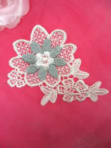 MS72 White Grey Flower Embroidered Applique Floral 3.75""