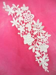 """MS78 White Venice Lace Floral Applique 6.5"""""""