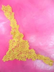 """MS81 Gold Venise Lace Victorian Yoke Collar Applique 9"""""""