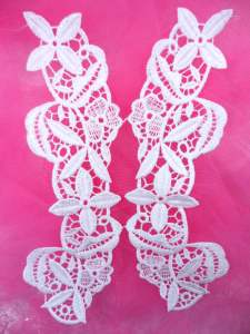 MS82 White Venice Lace Embroidered Mirror Pair Applique Floral 7.25""