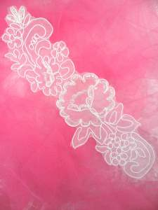MS85 White Embroidered Applique Floral 9""