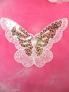 MS87 Embroidered Butterfly White Gold Sequin Applique 3.75""