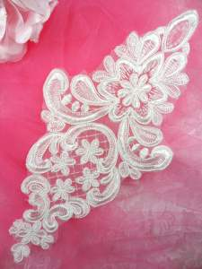 MS91 White Venice Lace Embroidered Applique Floral 10""