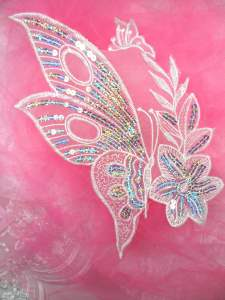 MS97 White Silver Holographinc Embroidered Butterfly Sequin Applique 10""
