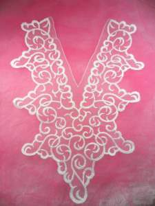 MS98 White Venise Lace Victorian Yoke Collar Applique 14""