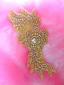 N1 Gold Beaded Crystal AB Rhinestone Applique Flower 8.5""