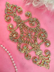 N10 Rhinestone Applique Crystal AB Bridal Sash Metal Back Embellishment 8""