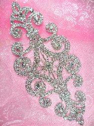 "N10 Bridal Crystal Rhinestone Sash Applique Metal Back Embellishment 8"""