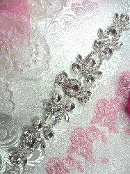 """N14 Silver Crystal Clear Rhinestone Applique Embellishment 10"""""""
