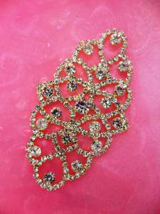 N15 Bridal Crystal Rhinestone Sash Applique Gold Metal Back Embellishment 3.5""