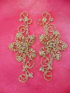 N18 Mirror Pair Flower Crystal Rhinestone Appliques Metal Back Floral Gold Embellishments Set 5""