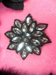 N19 Black Beaded Crystal Clear Glass Rhinestone Jewel Snowflake Applique 3""