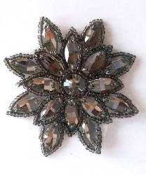 N19 Gunmetal Rhinestone Applique Jewel Snowflake Patch  3""