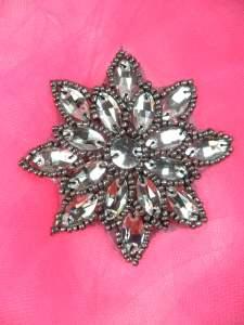 "N19 Gunmetal Crystal Rhinestone Applique Jewel Snowflake Patch  3"""