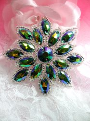 """N19 Peacock Glass Rhinestone Applique Snowflake Floral Beaded Patch 2.75"""""""