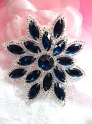 N19 Blue Sapphire Glass Rhinestone Applique Snowflake Floral Beaded Patch 2.75""