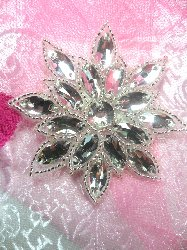 N19 Crystal Clear Glass Rhinestone Jewel Snowflake Silver Beaded Applique 3""