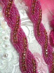 "N2 Fuschia Rose Pink Rhinestone Jewel Braided Twist Trim 1"""