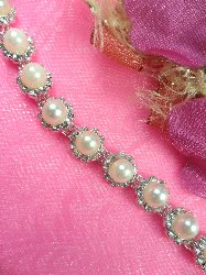 N22 Crystal Clear Rhinestone Pearl Metal Backing Flexible Trim .25""